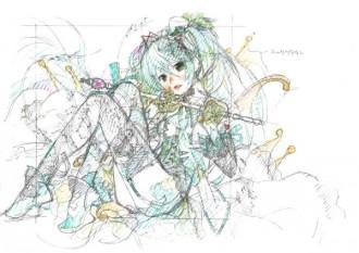 <写真>江端里沙が書き下ろした初音ミクのラフイメージカット