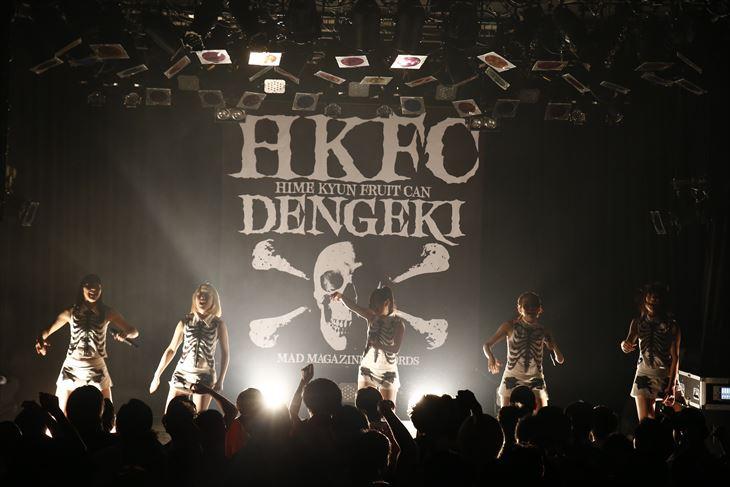 全国ツアー東京公演を行った愛媛のご当地アイドル「ひめキュンフルーツ缶」(撮影・菊池茂夫)