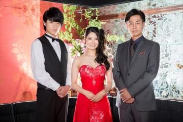 「OLですが、キャバ嬢はじめました」に出演する永田薫(左)、倉持明日香(真ん中)、福士誠治(右)