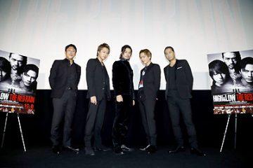 舞台挨拶に出席したTAKAHIROと登坂広臣、斎藤工、EXILE HIRO、山口雄大監督