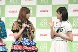 HKT48指原莉乃と欅坂46平手友梨奈(撮影・桂 伸也)
