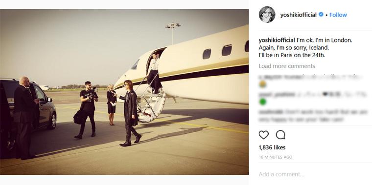 滞在中の欧州で倒れたYOSHIKI。日本時間22日午後6時過ぎ、写真を添えてファンに向けたメッセージを送った(Instagramより@yoshikiofficial)