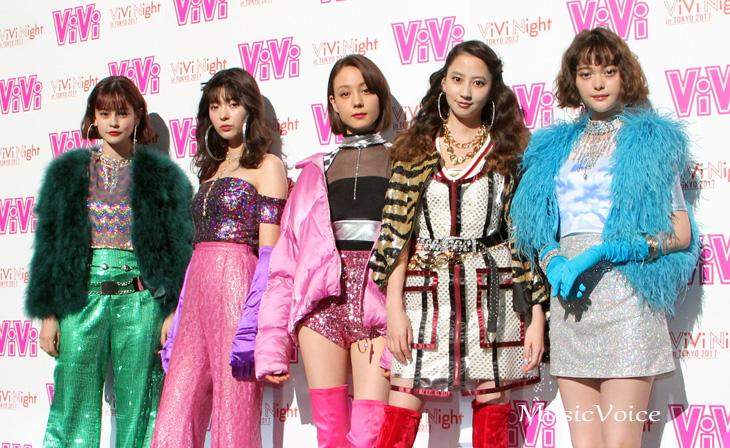 「ViVi Night in TOKYO 2017」の開催前に囲み取材に応じた、左からemma、八木アリサ、トリンドル玲奈、河北麻友子、玉城ティナ