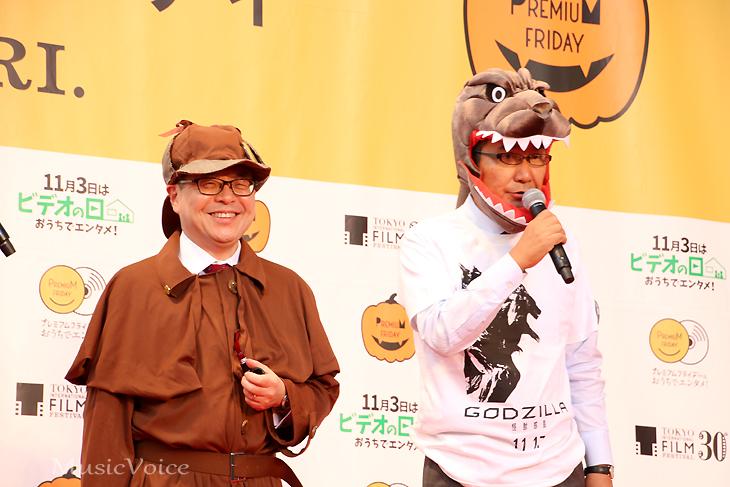 仮装した世耕弘成経済産業大臣(左)、島谷能成氏