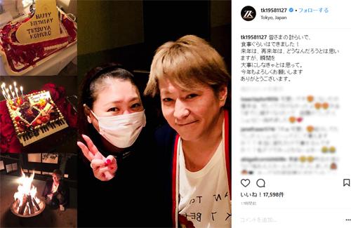 自身の誕生日に小室哲哉が公開したKEIKOとのツーショット写真(Instagramより@tk19581127)