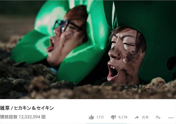 再生数1200万回を超えている「雑草 / ヒカキン&セイキン」(YouTubeより)