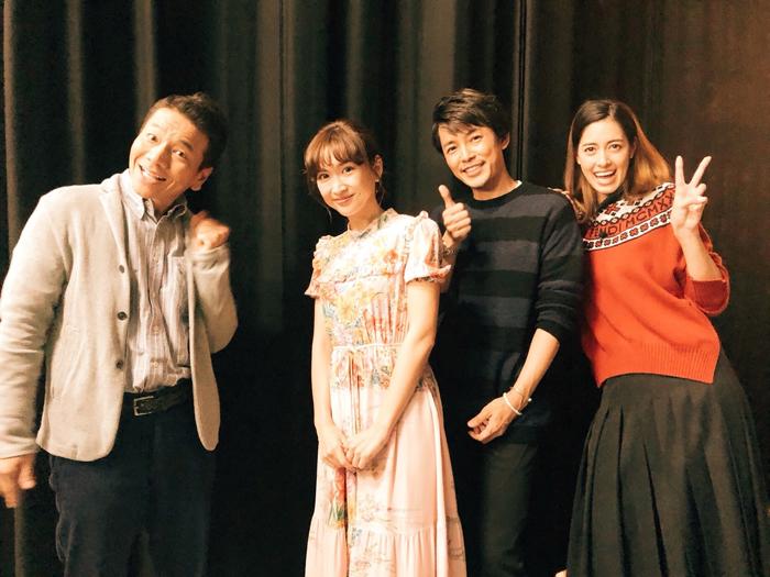 くりーむ上田晋也、藤木直人、森泉、紗栄子の記念撮影写真
