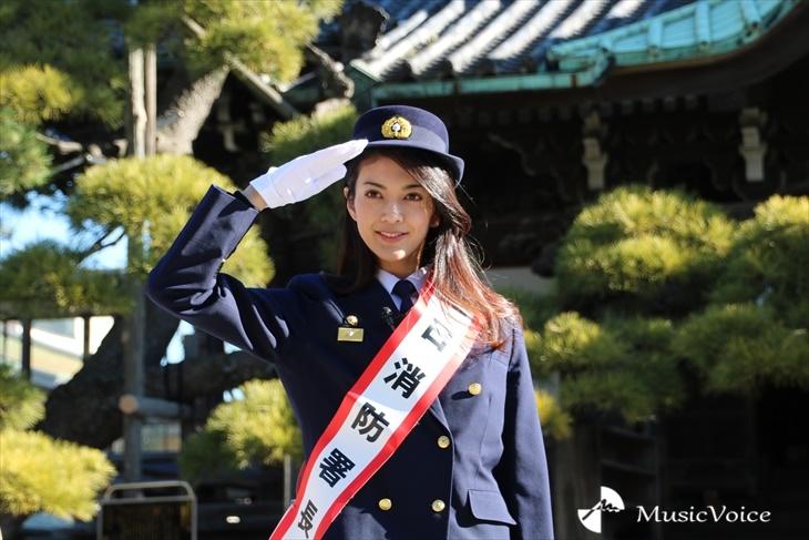 一日消防署長に就任した田中道子