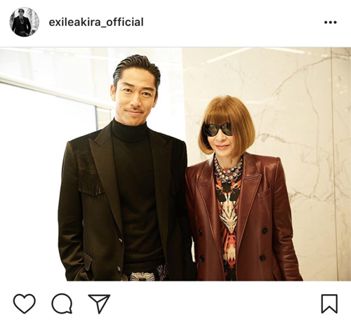 EXILE AKIRA、VOUGE編集長と2ショット(Instagramより@exileakira_official)
