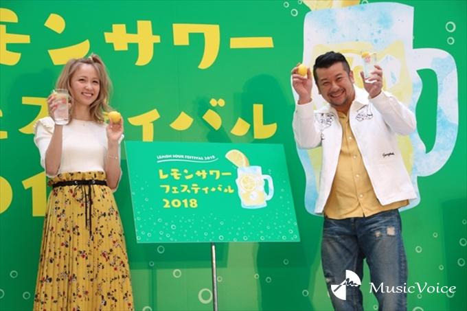 『レモンサワーフェスティバル 2018 乾杯セレモニー』に出席したDream Amiとケンドーコバヤシ